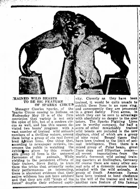 Sparks 5-18-1926 - TRAINED WIU) REASTS TO BE BIG FEATURE OF SI 1...