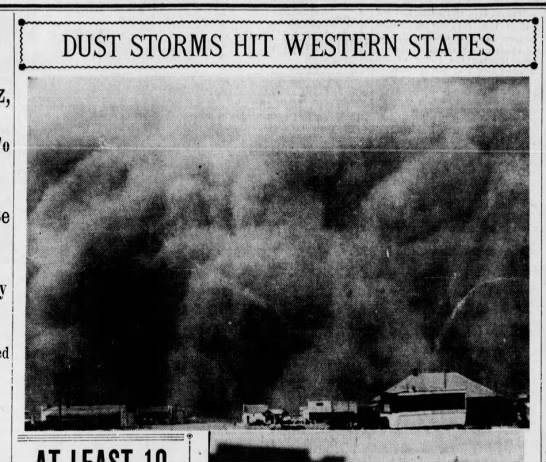 """""""Dust Storms Hit Western States"""" - DUST STORMS HIT WESTERN STATES I I r. i mmmmia..."""