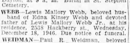 lewis webb death - Cemetery. YEI1H Lewis Mallory Webb, Deloved...
