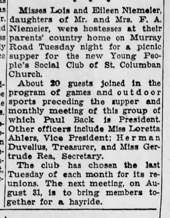 Cincinnati Enquirer, 1 August, 1948 - as I I Misses Lois and Eileen NIemeler,...