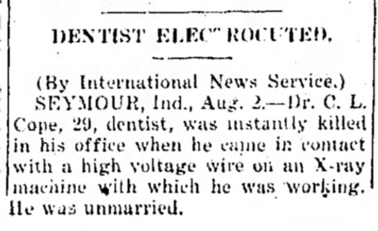 """The Indiana Gazette (Indiana, PA) 8 2 1920 pg 12 - DENTIST ELEC"""" ROCTTED. (By Intel-national News..."""