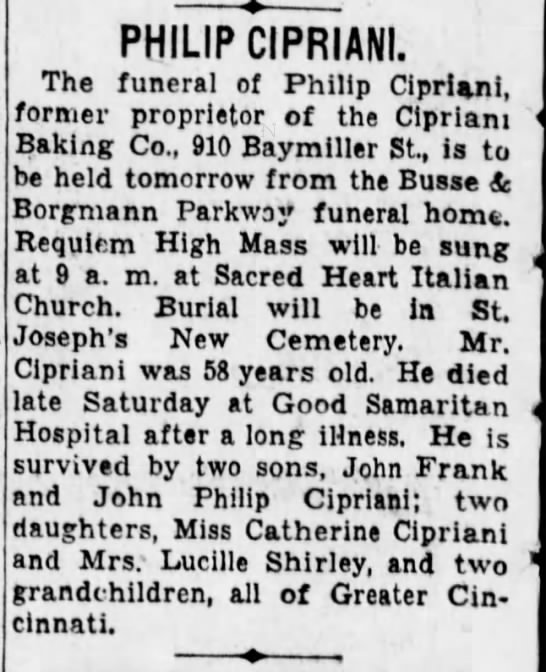 Philip Cipriani - PHILIP CIPRIANI. The funeral of Philip...