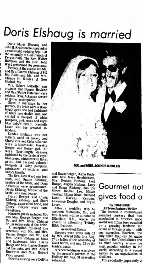 John H Knoles marries Doris Elshaus 15 Sept 1973 Minnesota - Don's Elshaug is married Dons Marie Elshaug and...