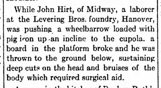John Hirt 1916 injury - most Pennsylvania. covers McSherrystown of...