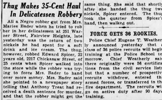 Edward Spicer 1/31/1943 - Thug Makes 35-Cent 35-Cent 35-Cent Haul In...