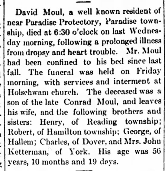 David Moul obit-May 1916 - ar- the oiling we b«- is a light. the York...