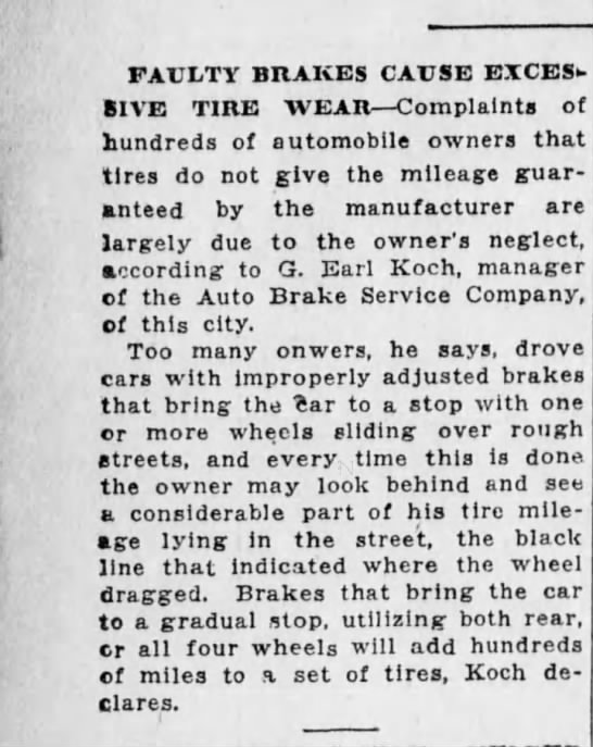 1928-08-26 Koch, G. Earl discusses how brakes effect tire wear - FAULTY BRAKES CAUSE BICES BIVE TIRE WEAR...