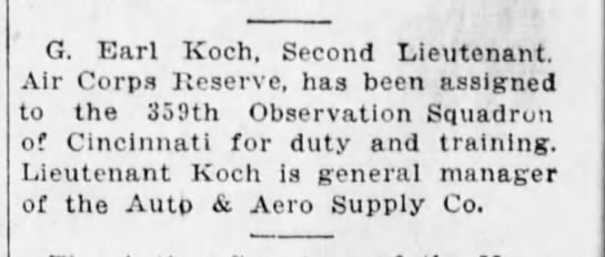 1930-06-12 Koch, Earl assigned to duty - G. Earl Koch, Second Lieutenant. Air Corps...