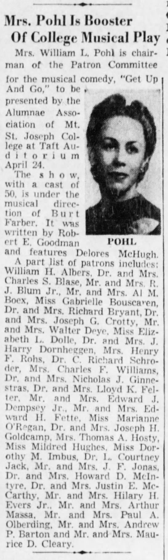 1953 Apr 19 CJ patron of play - Mrs. PoM Is Booster Of College Musical Play...