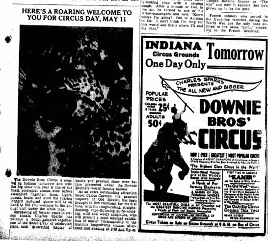 Sparks Article & Ad5-10-1938 - HERE'S A ROARING WELCOME TO YOU FOR CIRCUS DAY,...