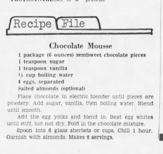 Cincinnati Enquirer, 9 November, 1966 - Recipe TFile Chocolate Mousse I package (6...