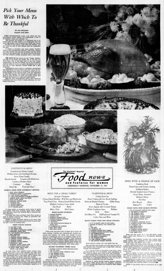 """Cincinnati Enquirer, 15 November, 1967 - - , - . """" Pick Your Menu With Which To Be..."""