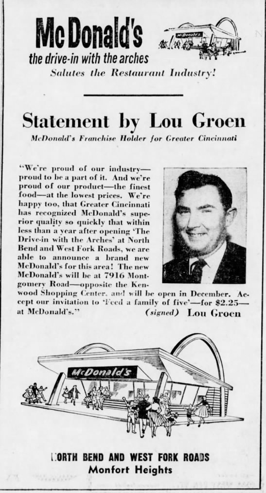 McDonald's - the drive-in with the arches. Lou Groen Franchise holder. - nn nil icuonaius the drive-in drive-in drive-in...
