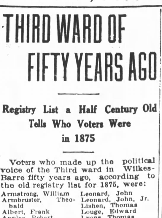 Theobald Armbruster listed in 1875 W-B 3rd ward voters list - F FIFTY YEARS AGO in Regutry List a Half...