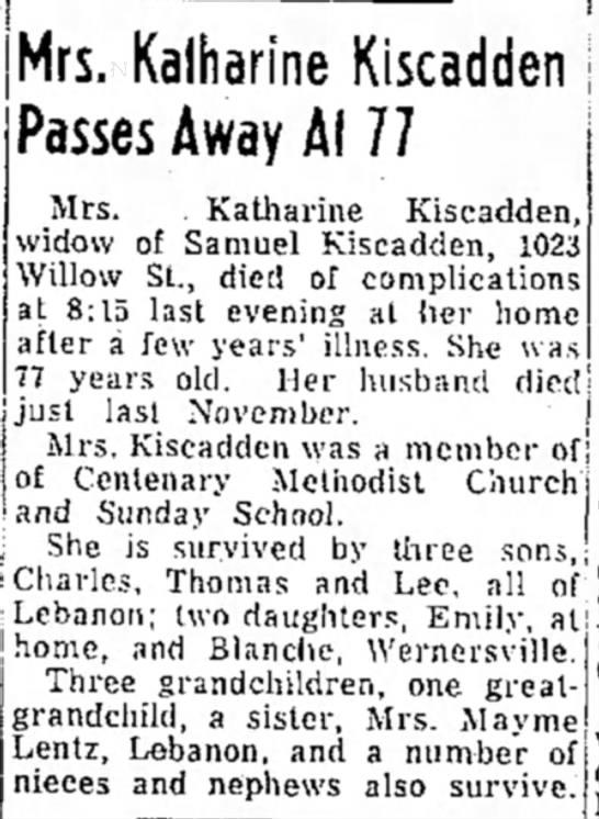 Kiscadden Katherine obit 1 Apr 1955 LDN - Mrs, Kalharine Kiscadden, Passes Away Ai 77...
