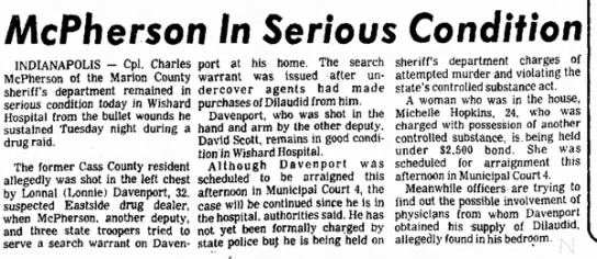 1/21/1982 - INDIANAPOLIS — Cpl. Charles McPherson of the...