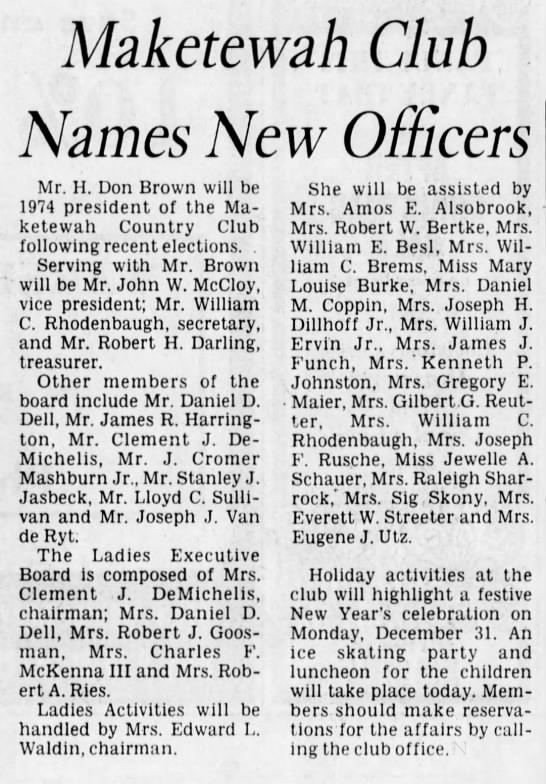 1973 New Officers - Maketewah Club Names New Officers Mr. H. Don...
