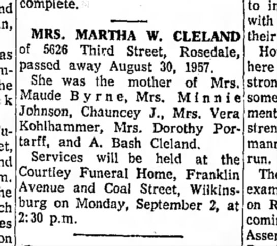Martha Cleland - as on incomplete. MRS. MARTHA W. CLELAND of...