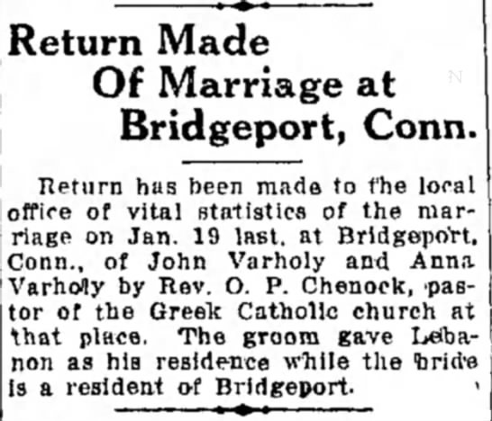 - Return Made Of Marriage at Bridgeport, Conn....