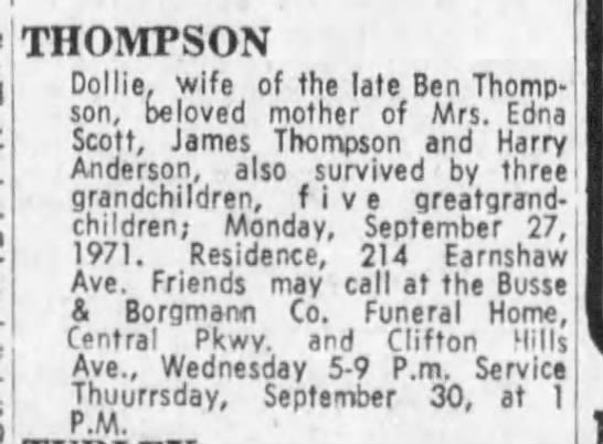Dollie Thompson Obituary - THOMPSON Dollie, wife of the late Ben Thompson,...