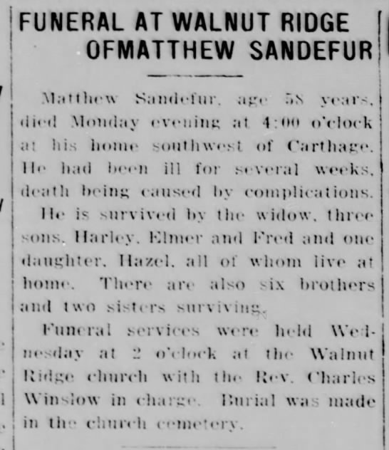 Matthew Sandefur Obituary - FUNERAL AT WALNUT RIDGE I OFMATTHEW SANDEFUR...