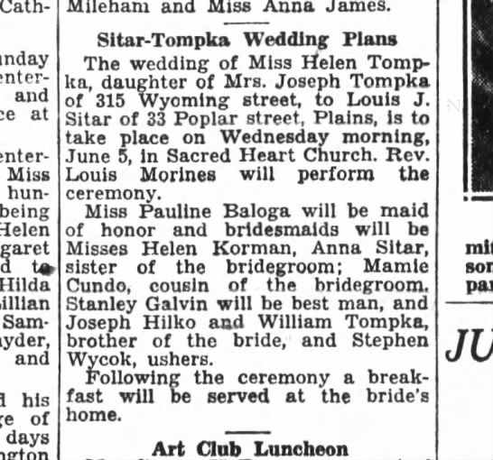 "Louis Sitar wedding 10 May 1929 - Cath-. Sunday entertained and at enter-"" Miss..."