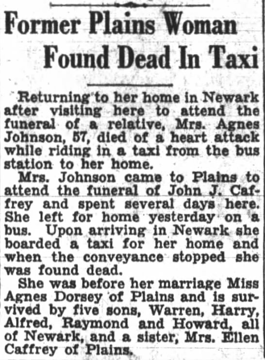 Agnes Dorsey-Johnson Death January 12, 1932 - Former Plains Woman Found Dead In Taxi...