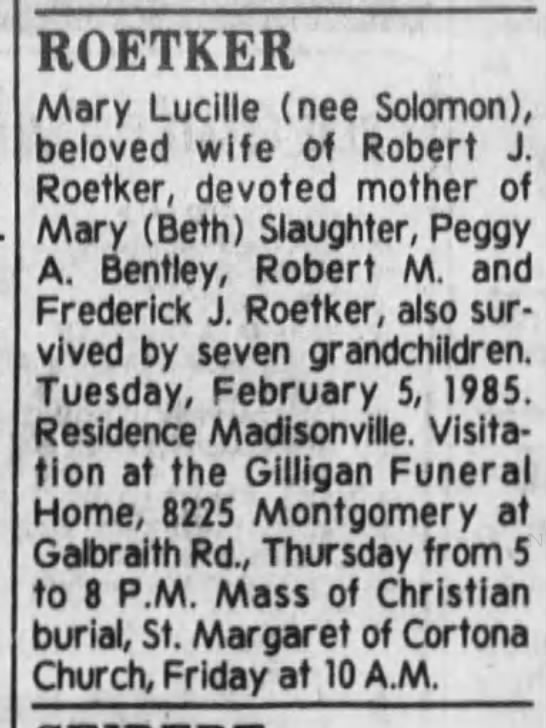 Mary Roetker obit - ROETKER Mary Lucille (nee Solomon), beloved...