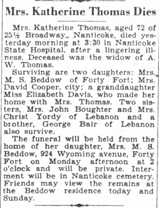 Mary Catherine Thomas - Mrs. Katherine Thomas Dies Mrs. Katherine...