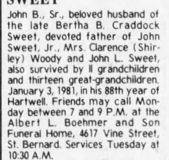 John B. Sweet - John B , Sr., beloved husband of the late...