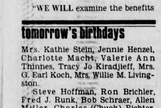 1978-11-20 Koch, Mrs G Earl birthday tomorrow - ' ' HVE WILL examine the benefits Narrows ays...