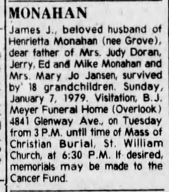 - MONAHAN James J, beloved husband of Henrietta...