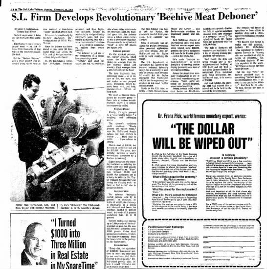 Beehive Machinery Feb 10, 1974 - KM-Tbe-SaltLake Tribune. Suuda>vl>Kniary in....