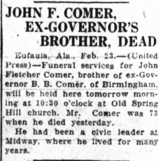 John F. Comer, The Anniston Star 23 Feb 1927 - JOHN F. COMER, EX-GOVERNORS EX-GOVERNORS...