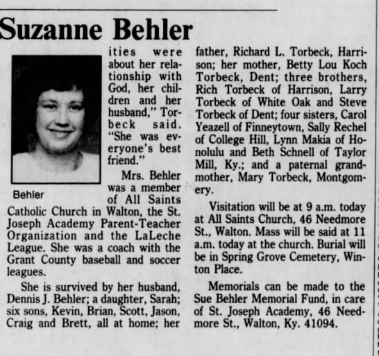 1990-09-22 Behler, Suzanne obit - Suzanne Behler a ities were about her...