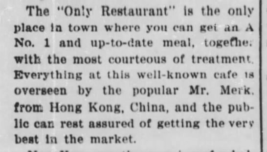 """Only Rest 627 Main 1898 - The """"Only Restaurant"""" Is the only place la town..."""