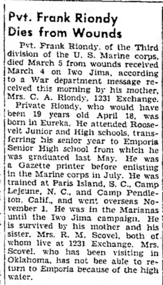 Frank Riondy Dies from Wounds