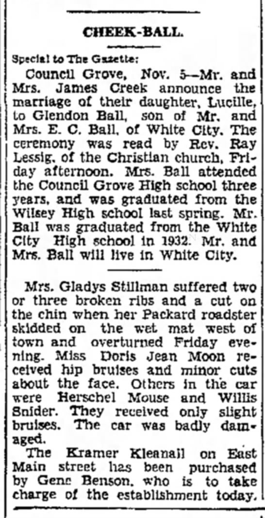 Glendon Ball and Lucille Cheek's Wedding Announcement 05 Nov 1934. - CHEEK-BALL. Special to The Gszettc: CouncU...