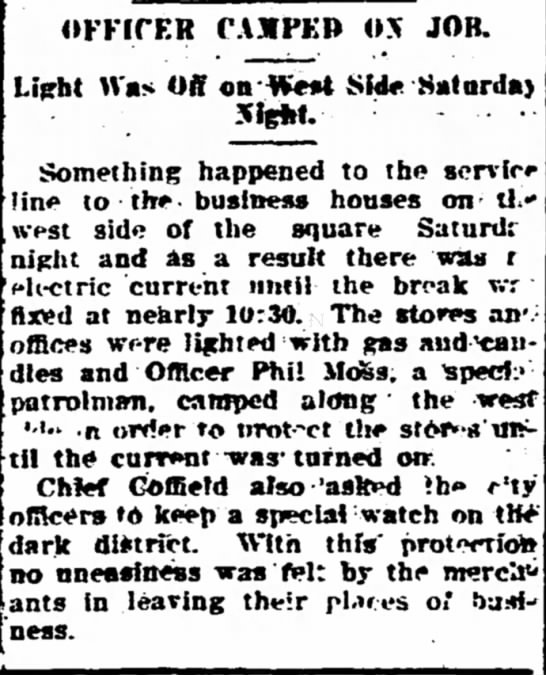 Phil Moss Camps On The Job - The Iola Register 12 Sept 1911 Page 5 - OFFICER CAMPED OX JOB. Light Was Off on -|¥ei4...