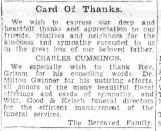 Cincinnati Enquirer OH 25 Mar 1951 card of thanks from family of Charles Cummings - Card Of Thanks. We wlah to express our deep tnd...
