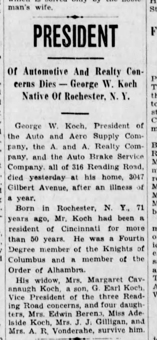 1936-11-09 Koch, Geo obituary - man s wife. PRESIDENT Of Automotive And Realty...