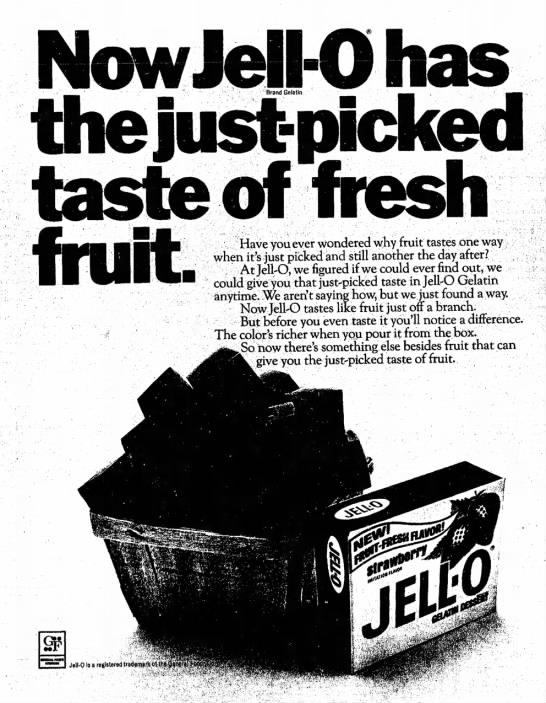 Jell-o ad, 1968 - Now Jell-O has .:'••'• ''••• k~-:'.->•-.-••...