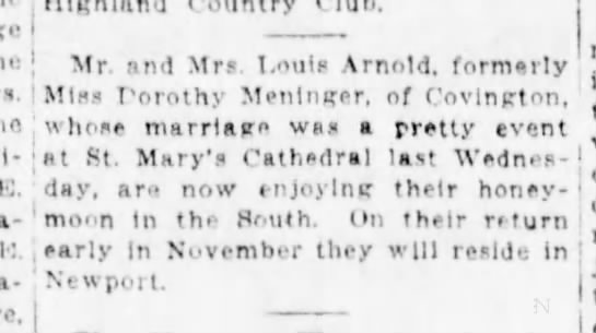 1924-10-27 Arnold Meninger marriage - Country I j Mr. Bnd Mrs. Louis Arnold, formerly...