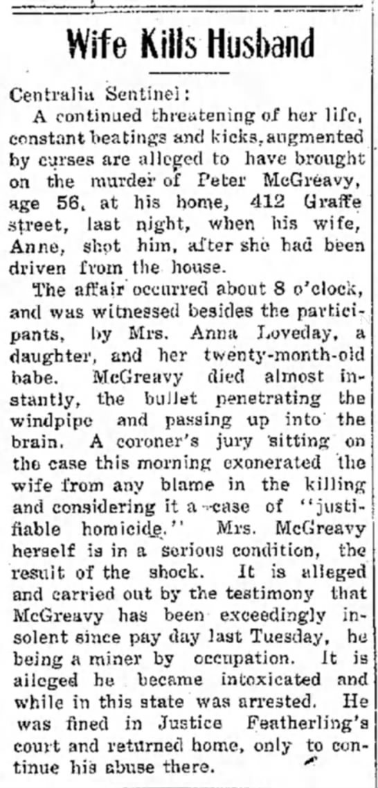 McGreavy shooting - Wife KIHsJIusband Centralist Sentinel: A...