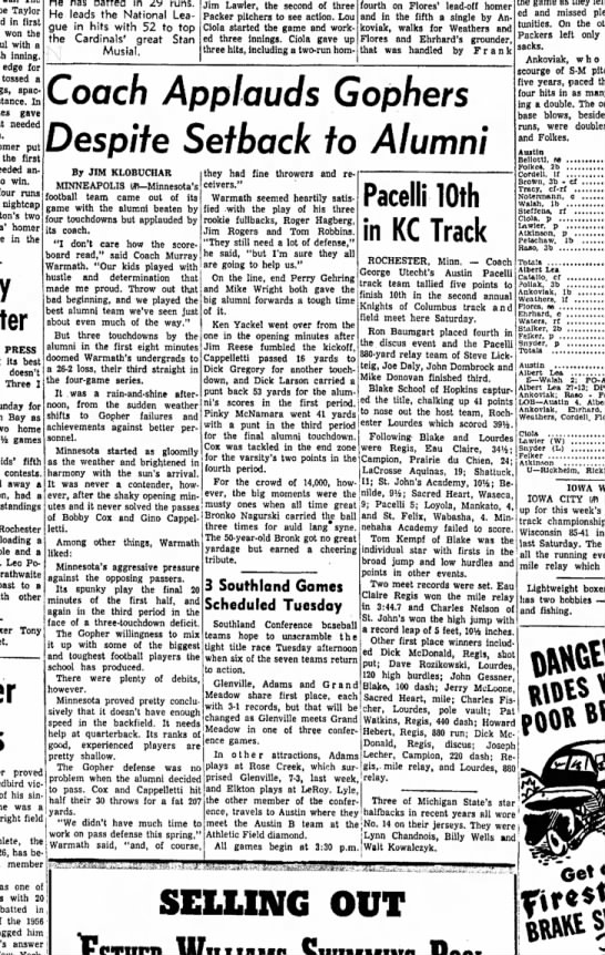 19 May 1958 - Taylor in first won the with a inning. edge for...