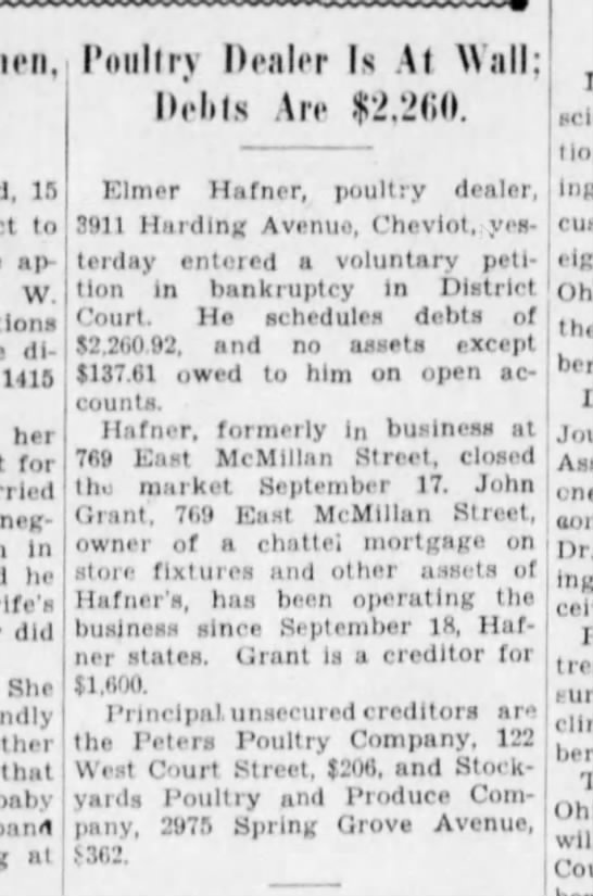 Elmer Hafner Sr. Bankruptcy - 15 to appeared W. divorced 1415 her for...