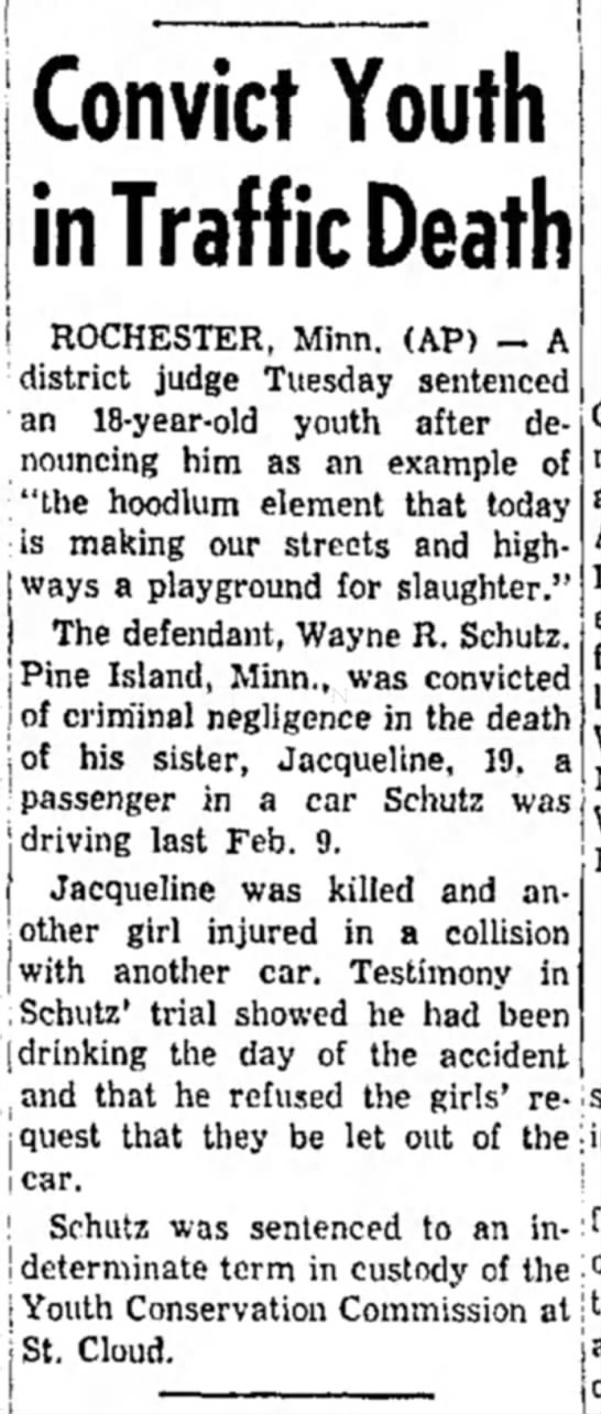 Schutz, Wayne Robert_Sentenced - I Convict Youth in Traffic Death ! ROCHESTER,...