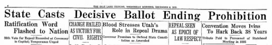 Utah casts Prohibition repeal vote - JTHE SALT LAKE TRIBUNE, WEDNESDAY MORNINQ,...