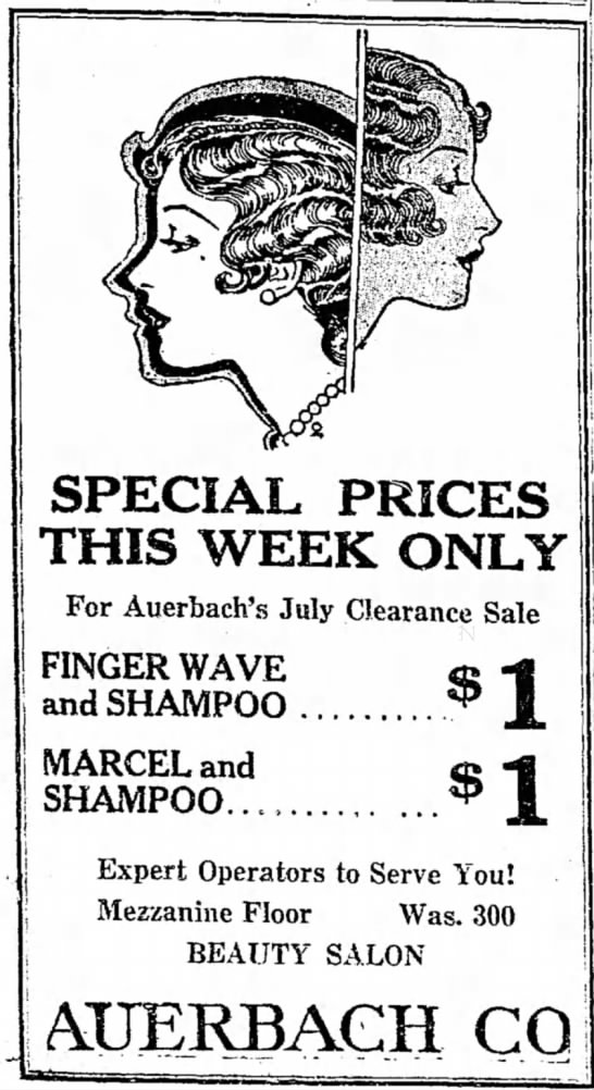 1931 hair style - SPECIAL PRICES THIS WEEK ONLY For Auerbach's...