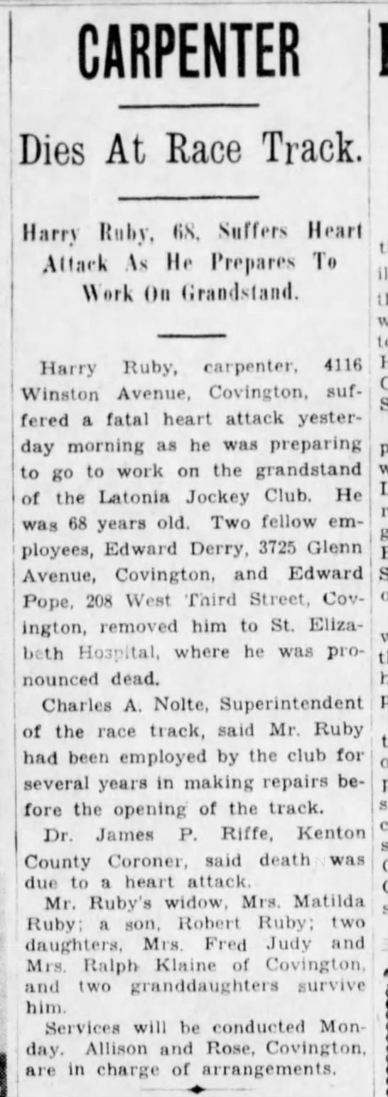 Henry Ruby - 1 CARPENTER Dies At Race Track. Harry ItuliV,...